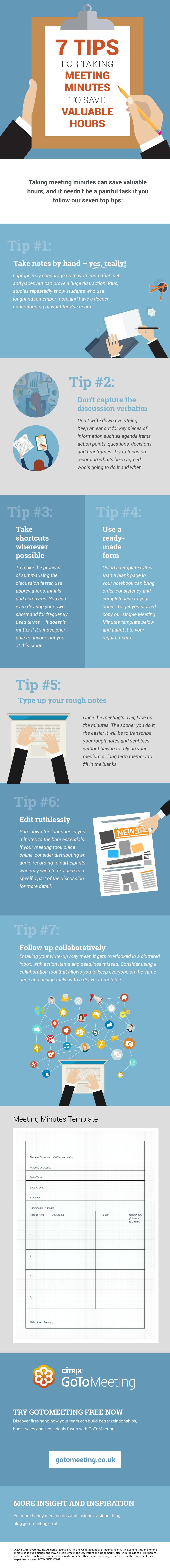 Infographic - How to take effective meeting minutes